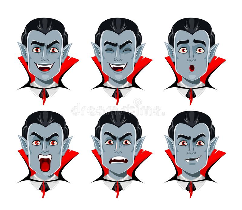 Émotion vampire Diverses expressions faciales illustration stock