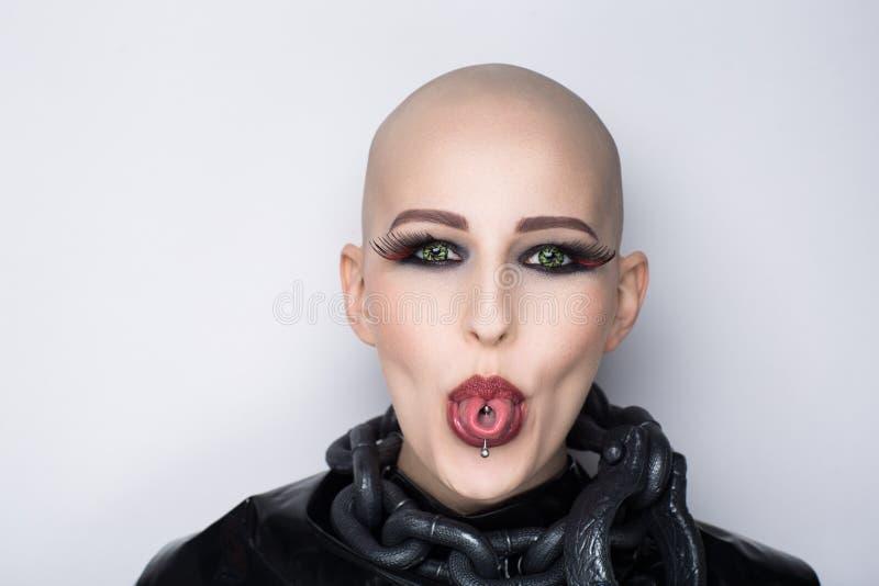 Émotions chauves de femme image libre de droits