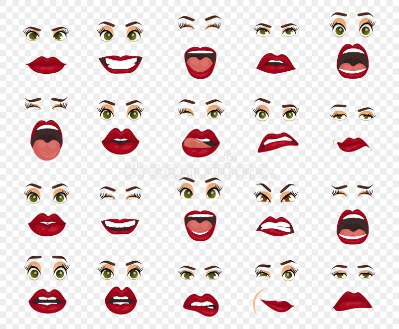 Émotions comiques Expressions du visage de femmes, gestes, déception d'enchantement de tristesse de dégoût de surprise de bonheur illustration stock