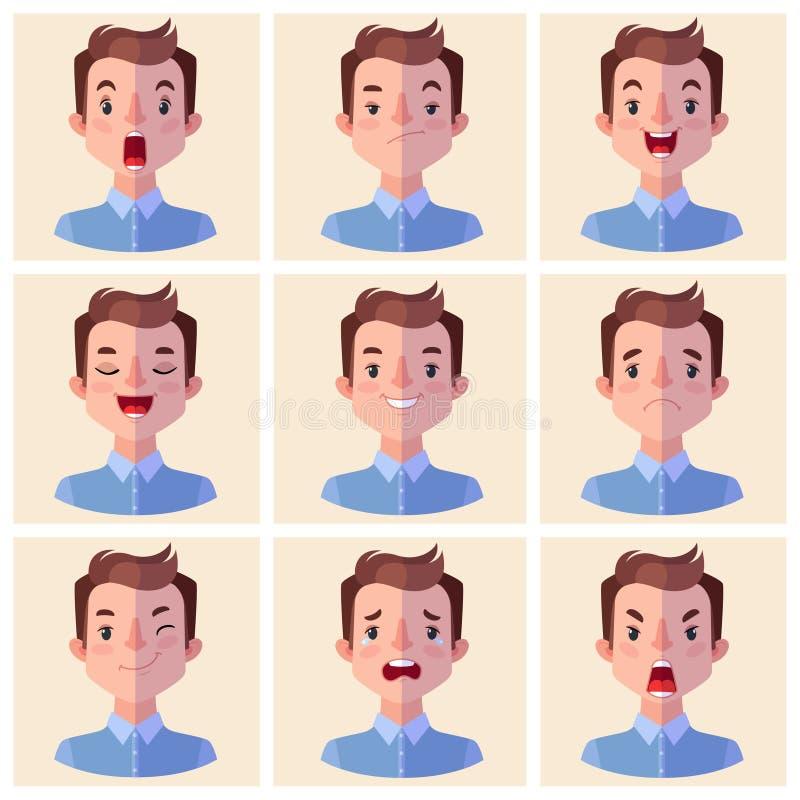 Émotions d'avatars Placez un homme avec un grand choix d'émotions illustration stock