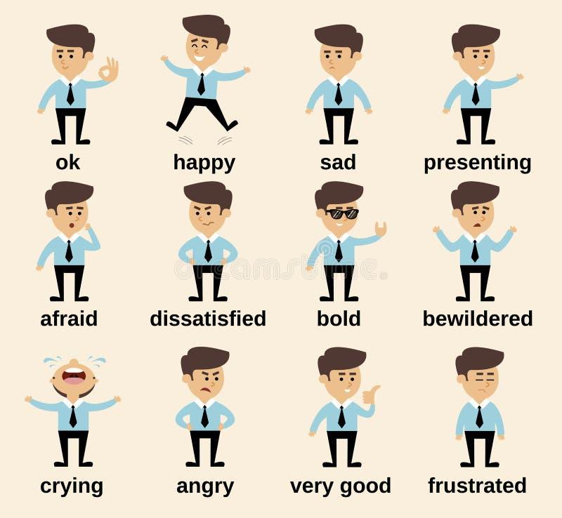 Émotions d'homme d'affaires réglées illustration de vecteur