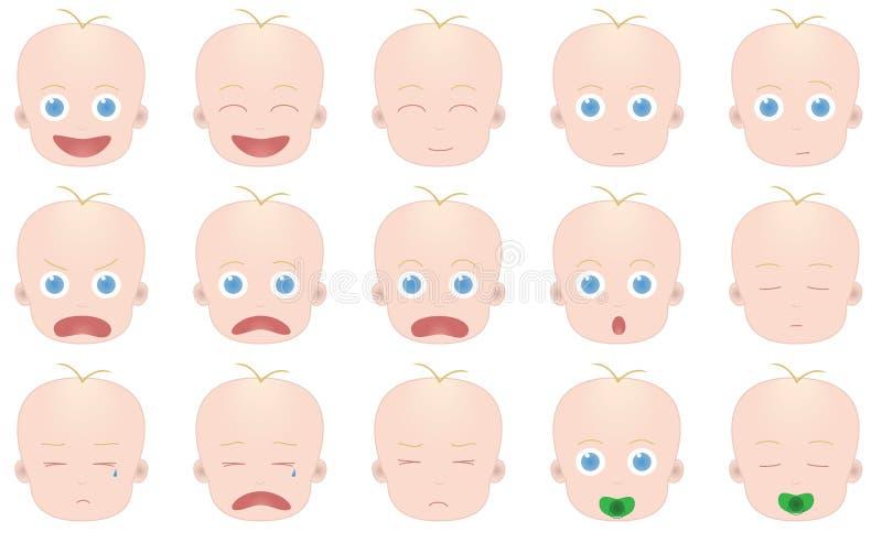 Émotions de bébé illustration de vecteur