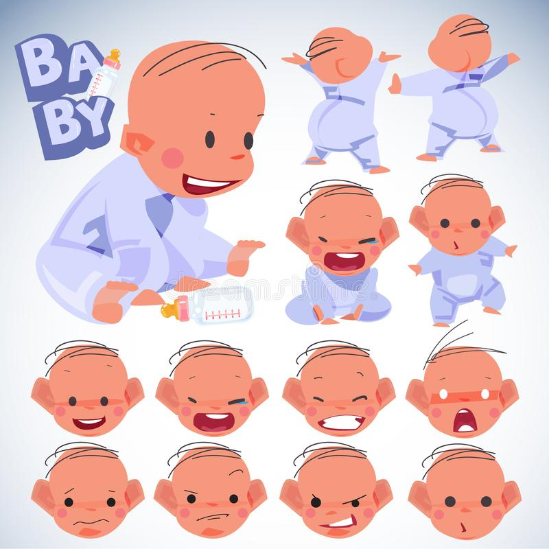 Émotions de bébé réglées Conception de personnages concept de bébé d'internautes novice - vect illustration libre de droits