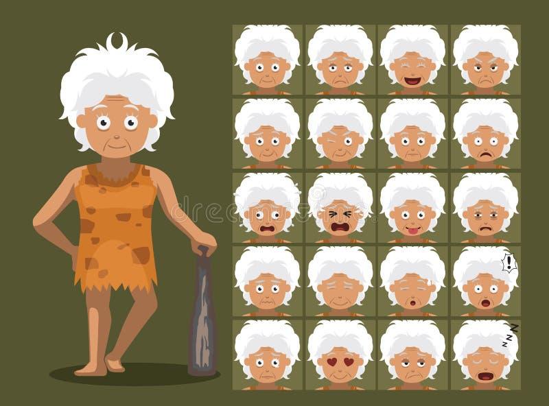Émotions de personnage de dessin animé de grand-maman de famille d'homme des cavernes illustration de vecteur