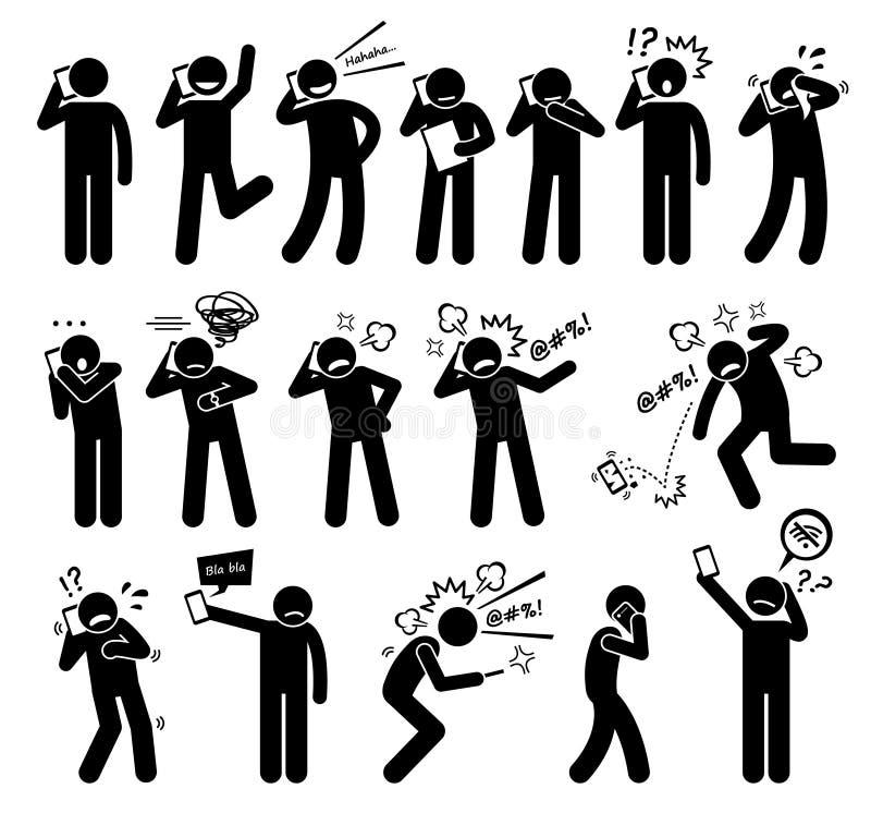 Émotions de sentiments d'expressions de personnes tout en parlant sur un téléphone portable Clipart illustration libre de droits