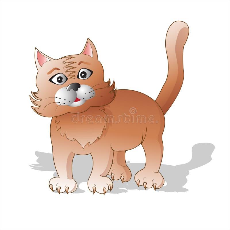 Émotions des animaux Le chat rouge étonné illustration de vecteur