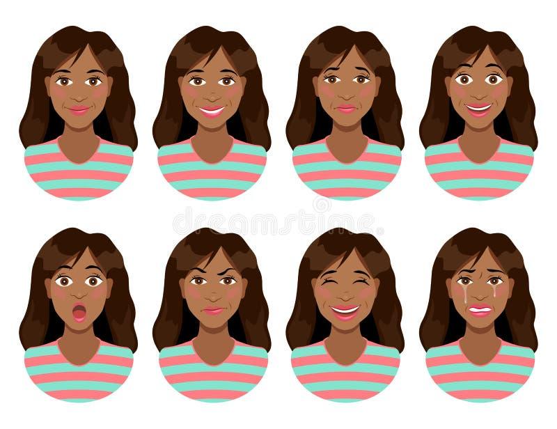 Émotions du ` s de femmes Expression femelle de visage Avatar de femme illustration libre de droits