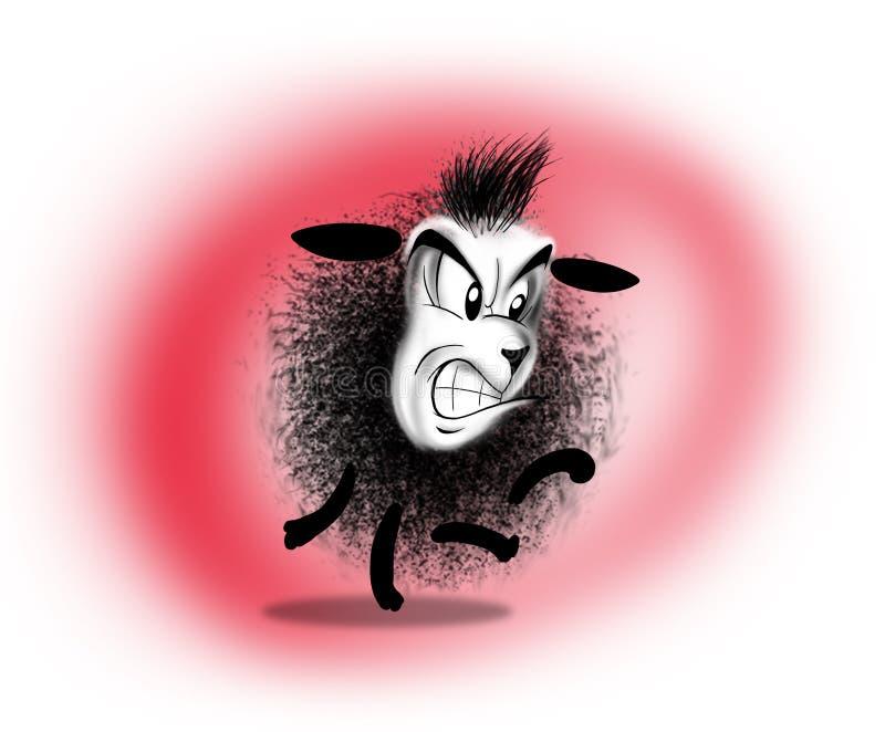 Émotions fâchées de bande dessinée de moutons illustration de vecteur