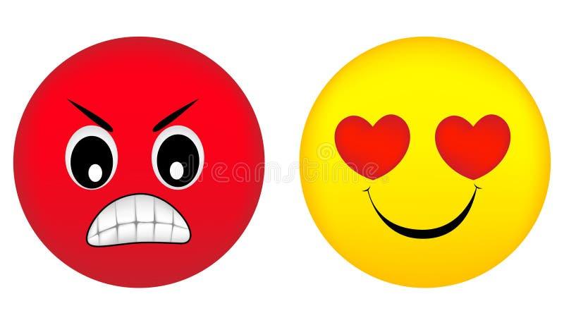 Émotions fâchées et d'amour illustration de vecteur