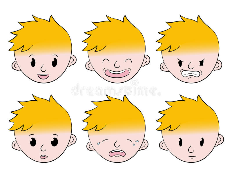 Émotions faciales de petit garçon réglées illustration stock