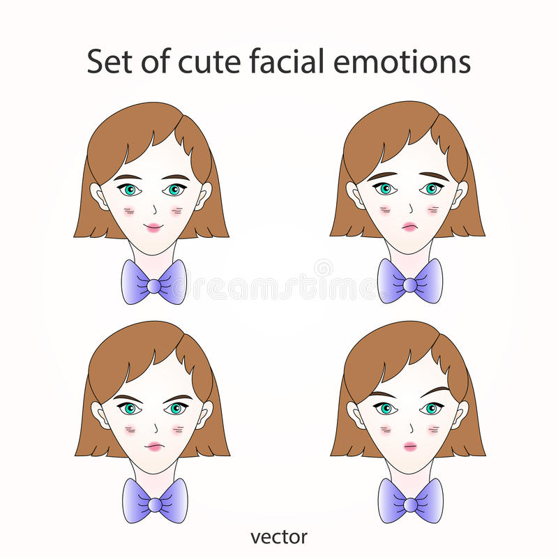 Émotions faciales mignonnes réglées illustration stock