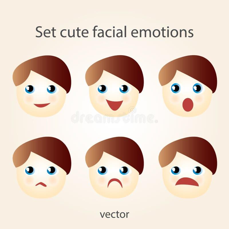 Émotions faciales mignonnes réglées illustration libre de droits