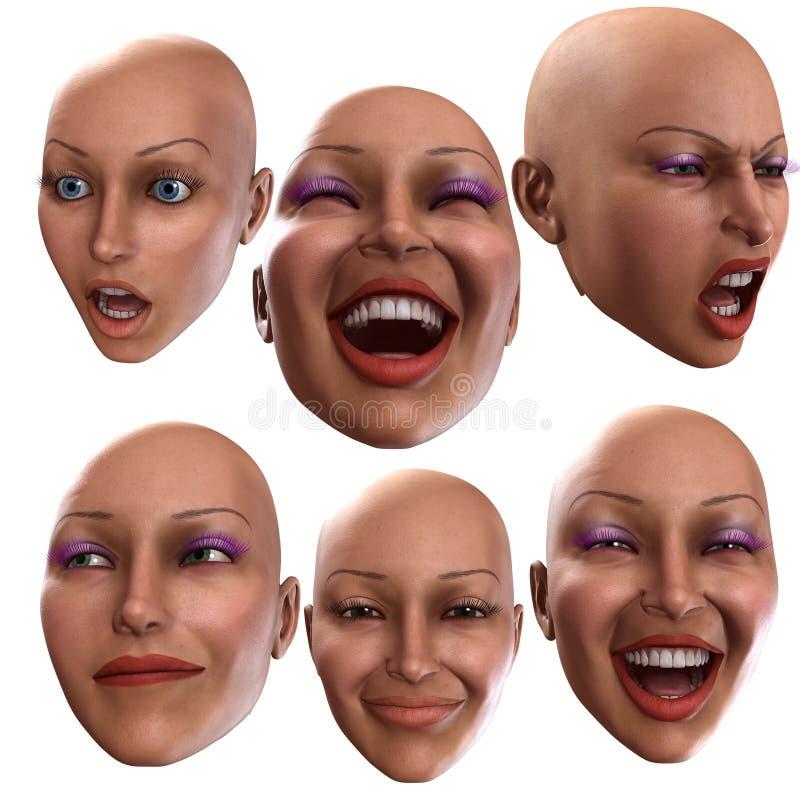 Émotions femelles illustration stock