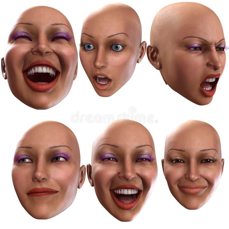 Émotions femelles 3 illustration de vecteur