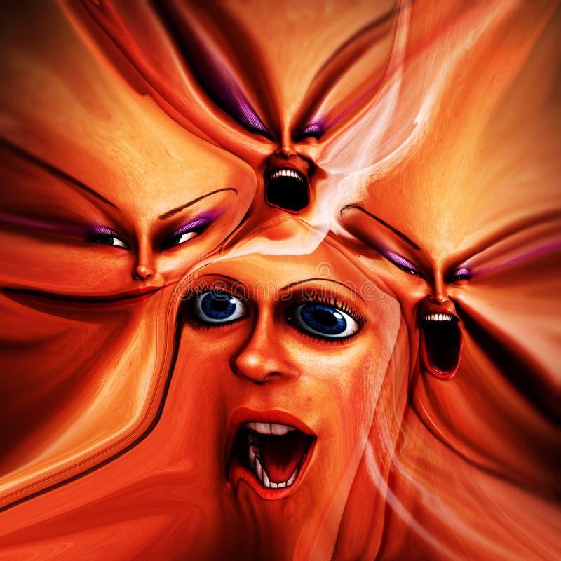 Émotions femelles bizarres 17 illustration de vecteur
