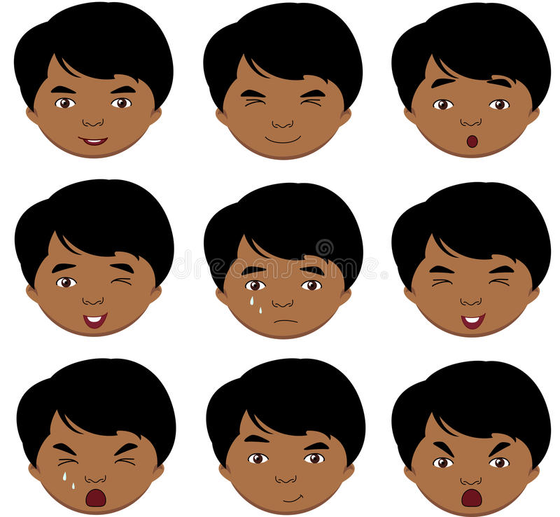 Émotions indiennes de garçon : joie, surprise, crainte, tristesse, peine, cryin illustration libre de droits