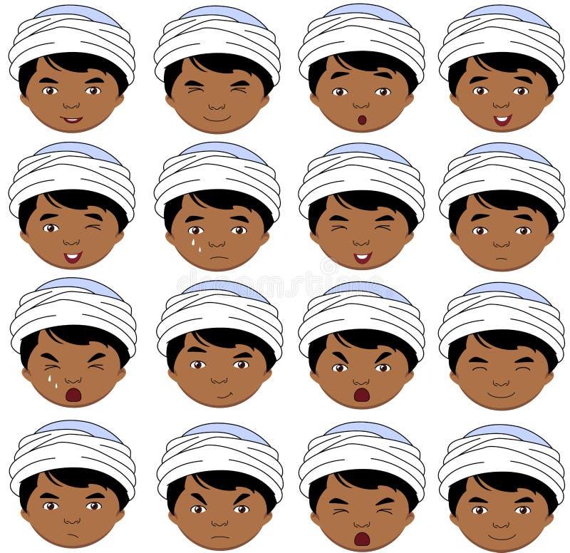 Émotions indiennes de garçon : joie, surprise, crainte, tristesse, peine, cryin illustration stock