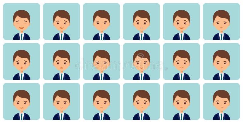 Émotions masculines d'avatars dans la conception plate Illustration de vecteur illustration libre de droits