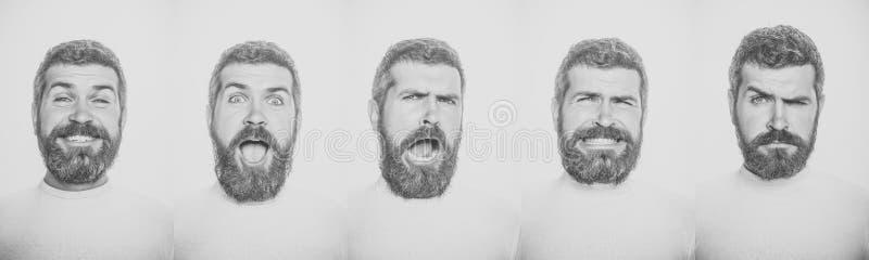 Émotions masculines ensemble d'émotion d'homme barbu photographie stock libre de droits