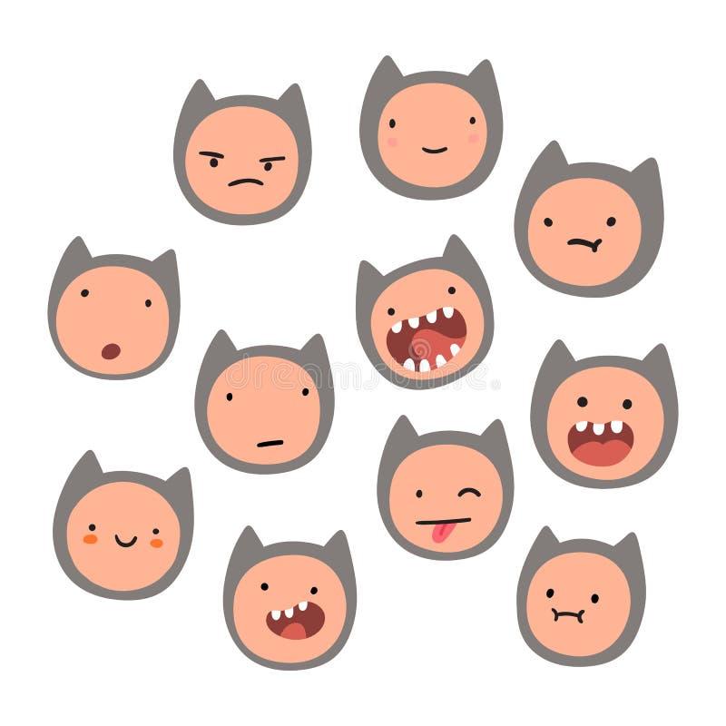 Émotions mignonnes de visage de chat illustration libre de droits