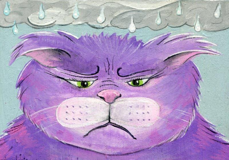 Émotions peintes à la main d'Art Cat Rainy Day Sad Angry de gens illustration libre de droits