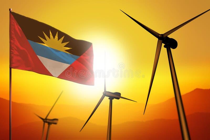 Énergie éolienne de l'Antigua-et-Barbuda, concept d'environnement d'énergie de substitution avec des turbines de vent et drapeau  illustration stock