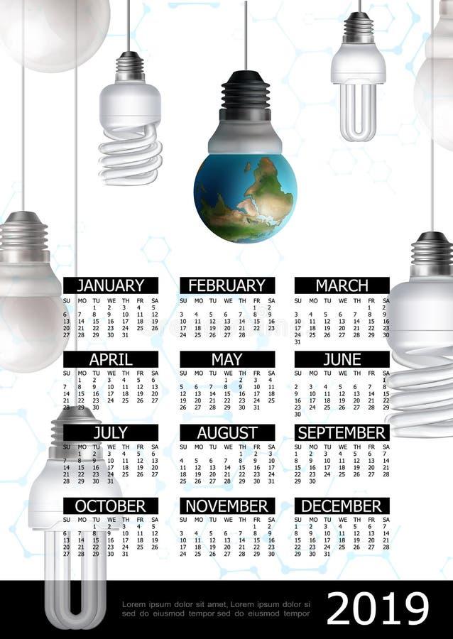 Énergie d'Eco affiche de calendrier de 2019 ans illustration libre de droits