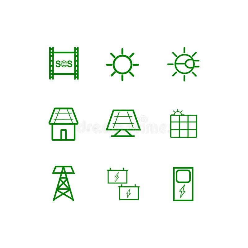 Énergie de renouvellement du soleil Ensemble d'ic?ne illustration de vecteur