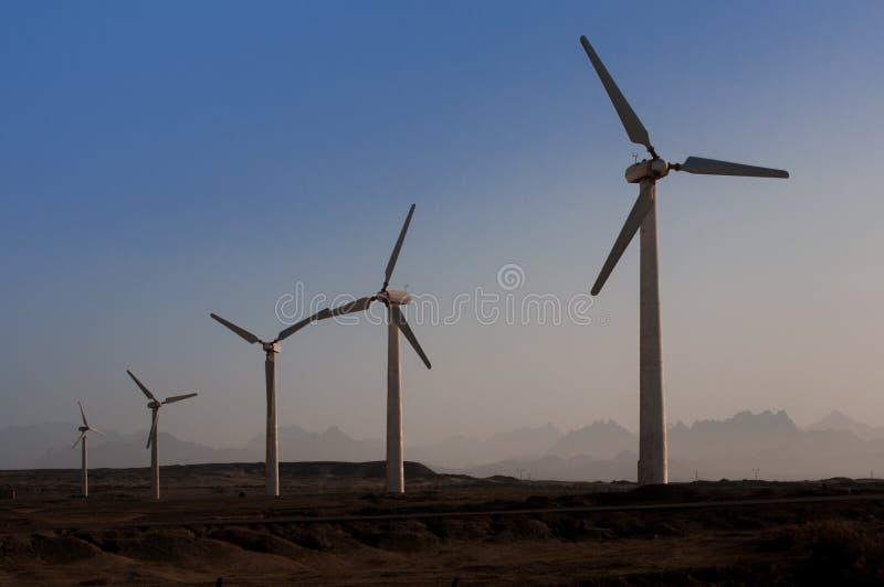 Énergie de substitution de moteurs de générateur de vent images libres de droits