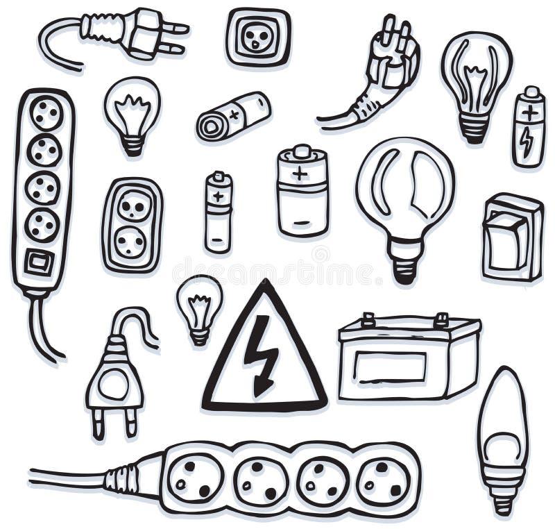 Énergie et icônes électriques illustration de vecteur