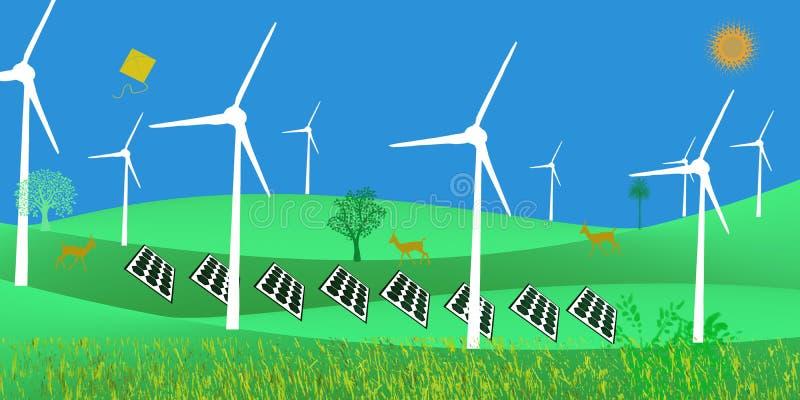 Énergie futuriste de vert de développement durable d'énergie non conventionnelle solaire illustration libre de droits
