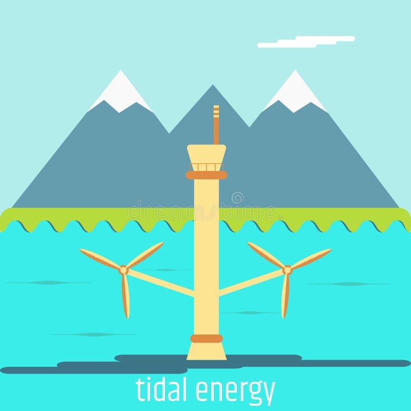 Énergie marémotrice Conception plate illustration de vecteur