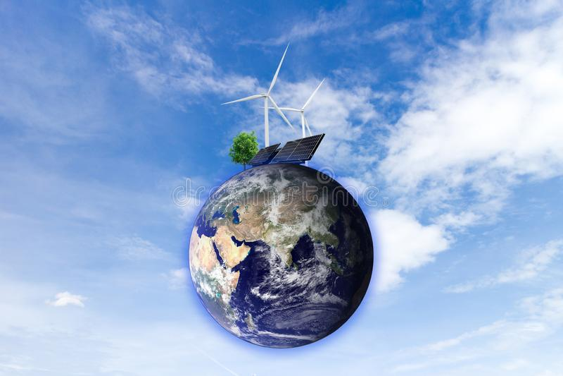 Énergie propre à énergie solaire de production d'électricité de turbine de vent des éléments de cette image meublés par la NASA photo libre de droits