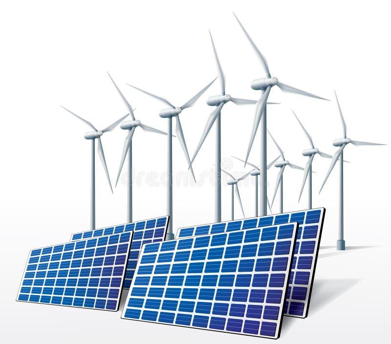 Énergie propre d'écologie de turbos-générateur de vent illustration de vecteur