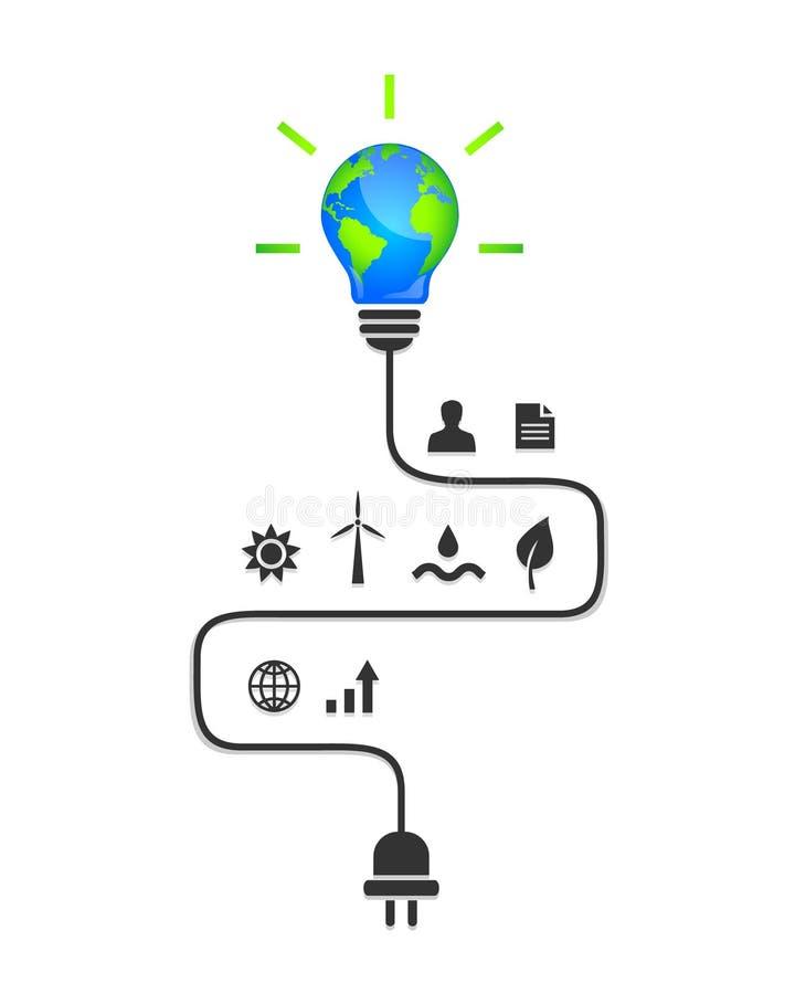 Énergie renouvelable et concept de développement durable illustration de vecteur