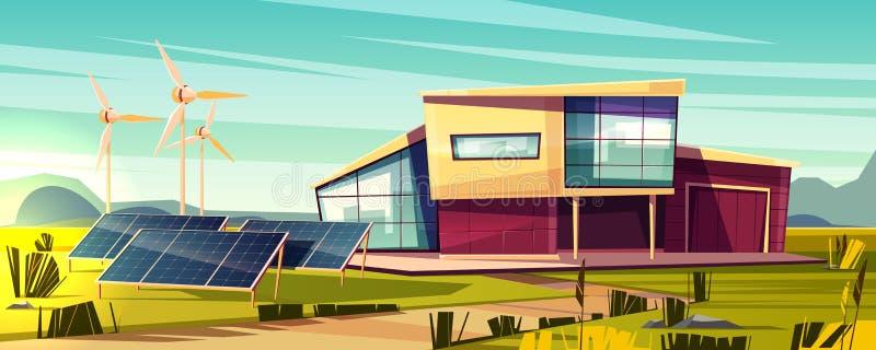 Énergie renouvelable pour le concept de vecteur de bande dessinée de maison illustration libre de droits