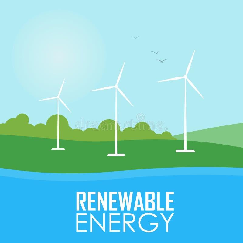 Énergie renouvelable Turbines de générateur de vent illustration libre de droits