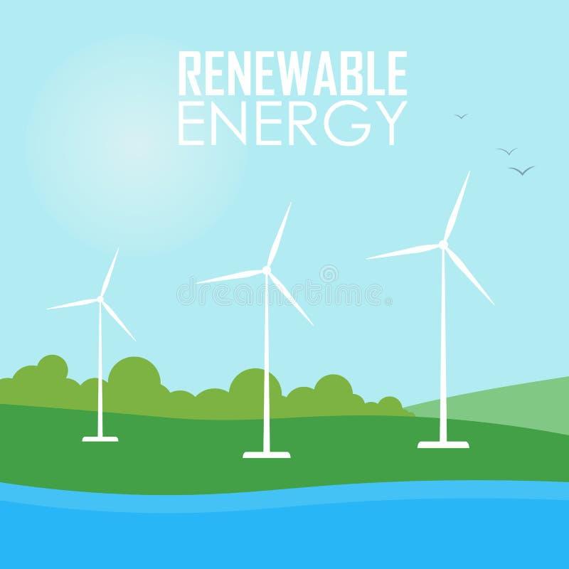 Énergie renouvelable Turbines de générateur de vent illustration de vecteur