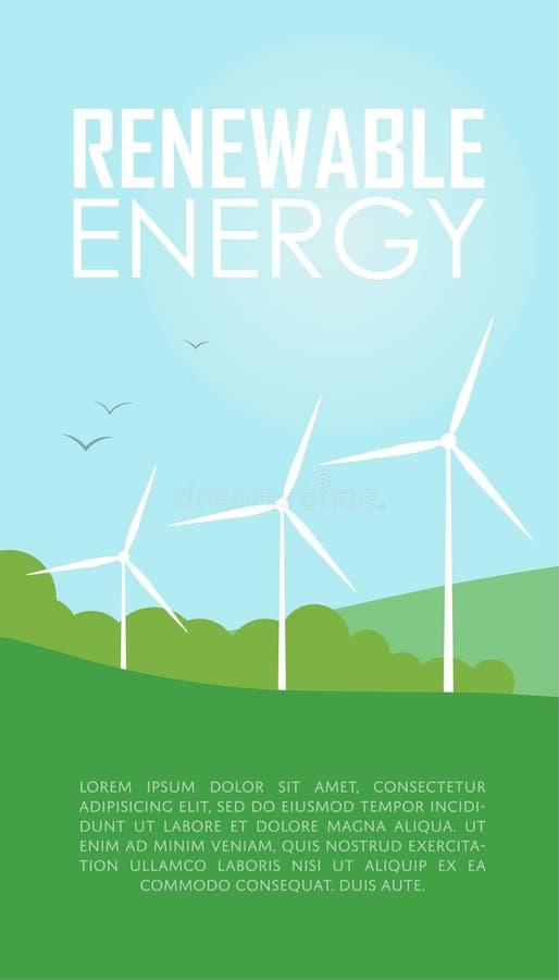 Énergie renouvelable Turbines de générateur de vent illustration stock