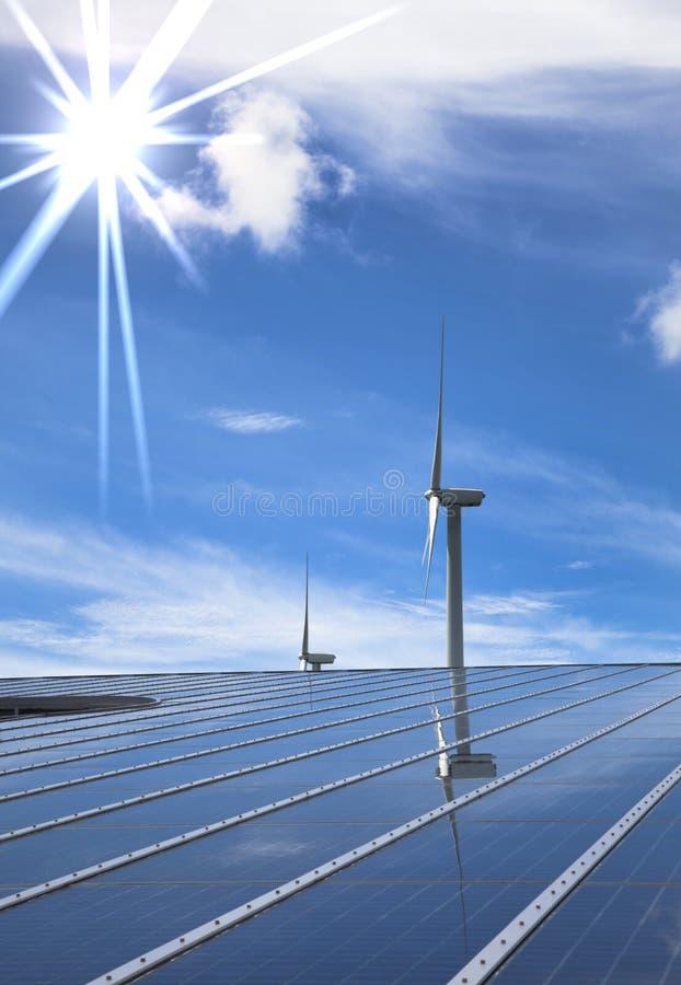 Énergie solaire et éolienne images libres de droits