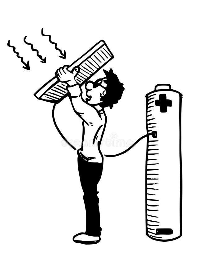Énergie solaire - un garçon tenant un panneau solaire illustration libre de droits