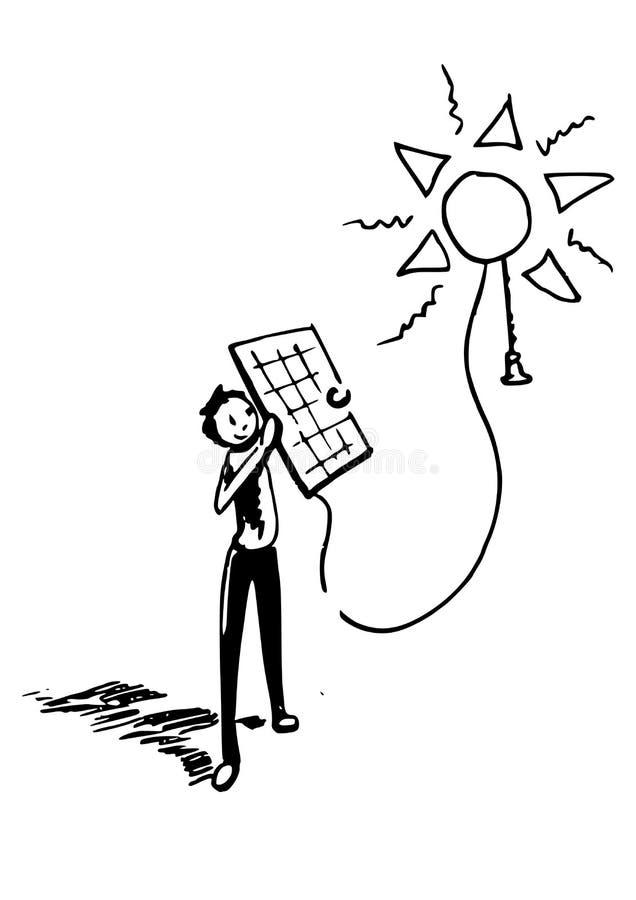 Énergie solaire - un garçon tenant un panneau solaire illustration de vecteur