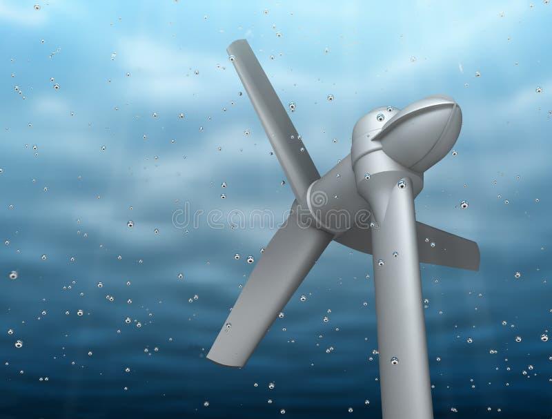 Énergie sous-marine de fleuve de prise de turbine illustration libre de droits