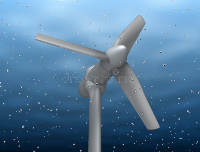 Énergie sous-marine de fleuve de prise de turbine illustration stock