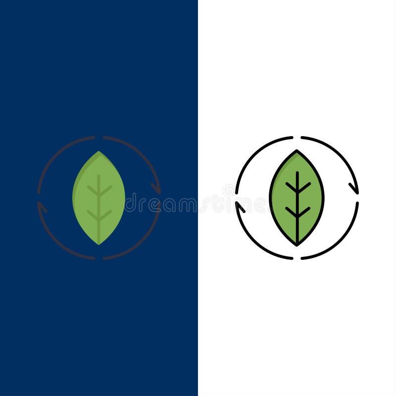 Énergie, vert, source, icônes de puissance L'appartement et la ligne icône remplie ont placé le fond bleu de vecteur illustration libre de droits