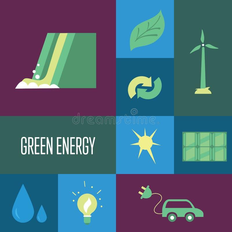 Énergie verte, icônes réglées pigeons de paix d'eco de concept illustration libre de droits