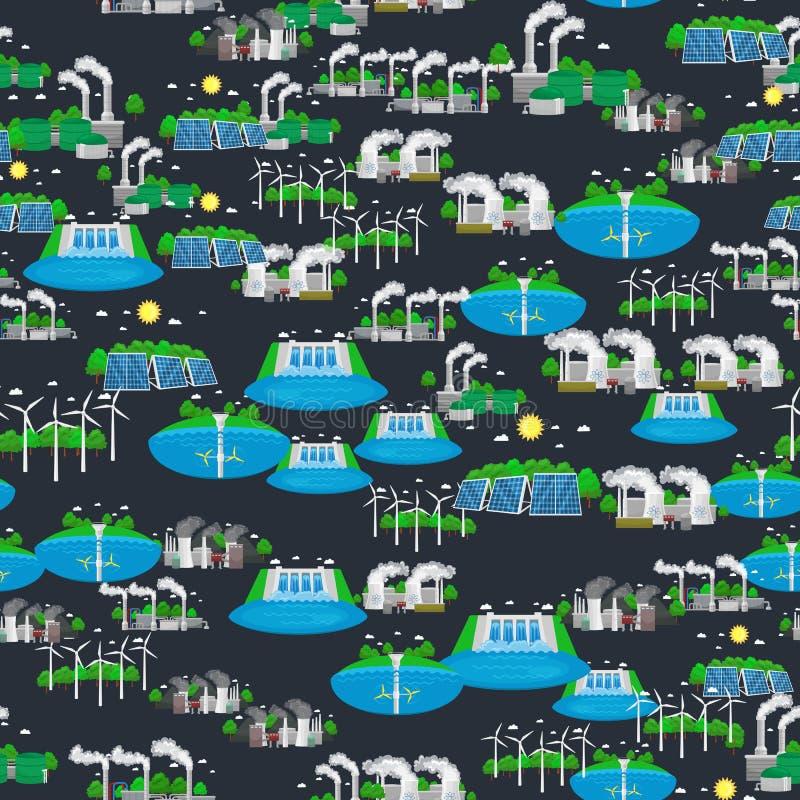 Énergie verte sans couture d'énergie de substitution de modèle, économies d'environnement, énergie renouvelable de turbine, vent  illustration de vecteur