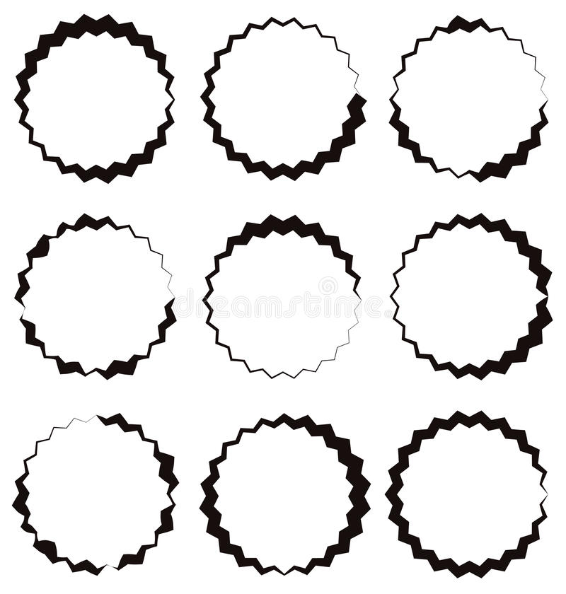 Énervé, cadre de cercle de zigzag, frontière de cercle Shap circulaire texturisé illustration libre de droits