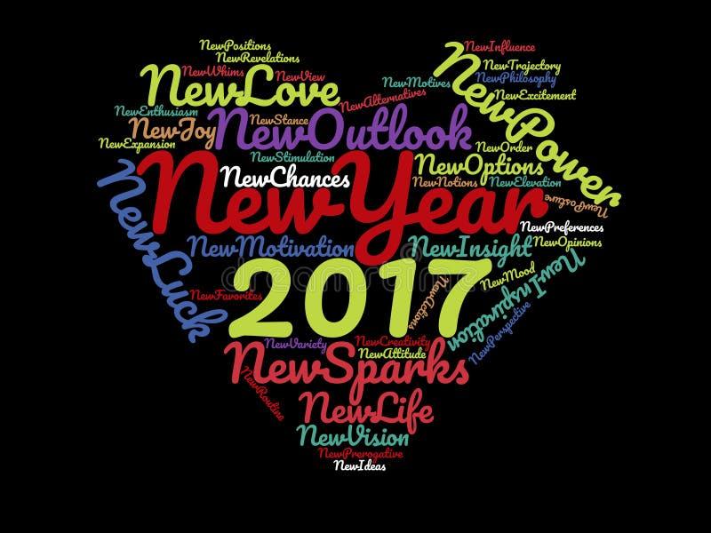 Énonciations inspirées de 2017 bonnes années et citations de motivation sur l'affiche graphique d'illustration de fond de coeur n illustration de vecteur