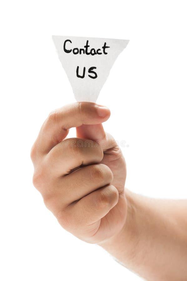 Éntrenos en contacto con imagen de archivo